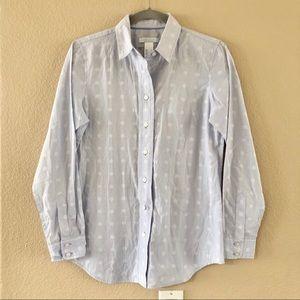 LizWear blue polka dot button down shirt